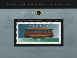 CANADA - HISTORIC LAND VEHICLES #2-#4 SOUVENIR SHEETS WITH FOLDERS MNH