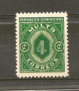 DOMINICAN REPUBLIC STAMP MOG 1942 MULTA CORREOS 4 C #BA4