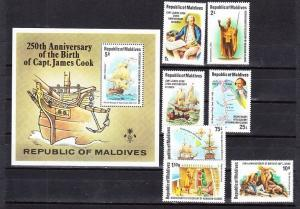 Maldives Scott 750-757 Mint NH (Catalog Value $30.75) - Captain Cook