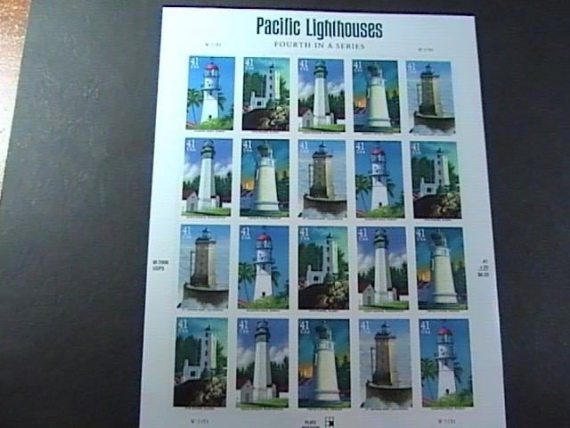 U.S.# 4146-4150(4150a)-MINT/NH-- PANE OF 20--PACIFIC -LIGHTHOUSES--2007