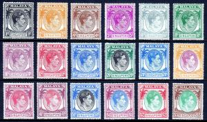 SINGAPORE — SCOTT 1a-20a (SG 16-30) — 1948 KGVI SET — P17½X18 — MH — SCV $300.00