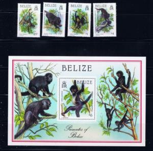 Belize 868-72 NH 1987 Monkeys  set with souvenir sheet