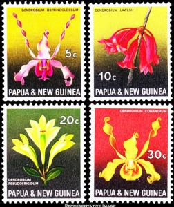 Papua New Guinea MNH 287-90 Orchids Flowers 1969