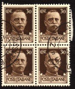 1929 Italy 30c, Used, Sc 219, Block of 4