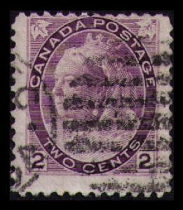 CANADA 1898 QUEEN VICTORI VINTAGE 2c PURPLE #76 FINE USED (V781)