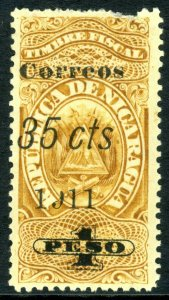 Nicaragua 1911 Fiscal Issues 35¢/1 Peso No Stop Mint P205 ⭐⭐⭐⭐⭐⭐