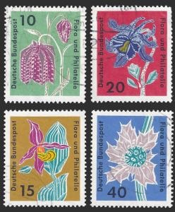 Germany FRG 1963 Sc 857-60 Flowers & Stamp Collecting UVF