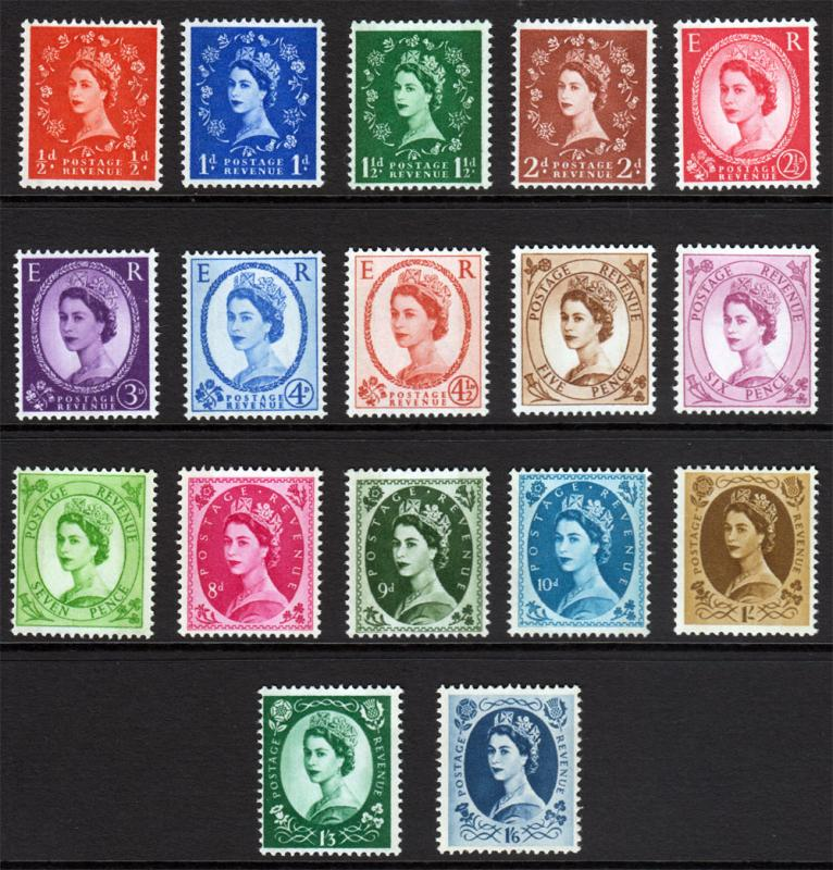 GB QEII 1958 Wildings SET SG570-SG586 Mint Never Hinged MNH UMM