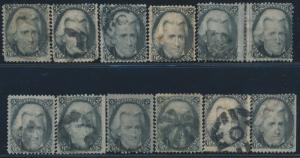 #73 (12) DIFFERENT USED WITH FANCY CANCELS CV $780 BS7340