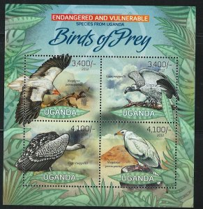 Uganda Scott 2020 MNH! Birds of Prey! Souv. Sheet!