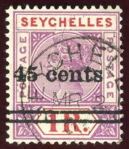 Seychelles 1902 QV 45c on 1r bright mauve & deep red VFU. SG 44. Sc 36.