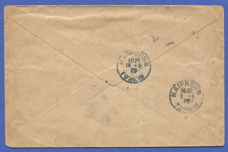 INDO CHINA France 1925 Airmail Flight cover, SAIGON to HAIPHONG, TONKIN