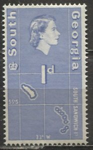 South Georgia; 1963; Sc. # 2; *+/MLH Single Stamp