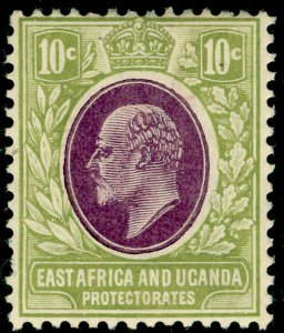EAST AFRICA and UGANDA SG37, 10c lilac & pale olive, M MINT. Cat £13.