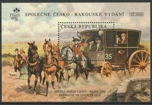 Czech Republic 2008 Historic Postal Vehicles, Horses joint Austria MNH Block