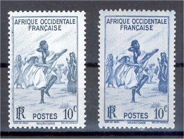 AFRIQUE OCCIDENTALE FRANCAIS color variety 10 Centimes 1947 NH
