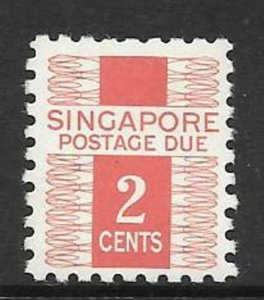 SINGAPORE SGD2 1968 2c RED POSTAGE DUES MNH