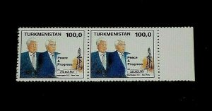 TURKMENISTAN #32, 1993, CLINTON VISIT, PAIR, MNH, NICE! LQQK!