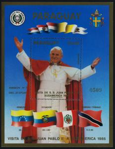 Paraguay C603 gold o/p MNH Visit of Pope John Paul II