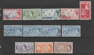 Bermuda 1953/62 Defs 12 vals to 2/- used generally Fine as shown
