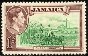 1938 Jamaica Sg 130 1s green and purple Mounted Mint