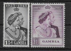 GAMBIA SG164/5 1948 ROYAL SILVER WEDDING SET MTD MINT