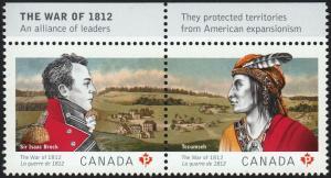Canada-Guernsey JOINT = WAR 1812 = Pair ENGLISH INSCRIPTION = 2012 #2555a MNH-VF