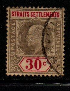 Straits Settlements Sc 100 1902 30 c gray & carmine rose Edward VII stamp used
