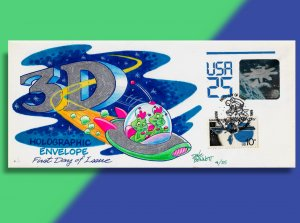 Two Aliens Speed Thru the Third Dimension on HD/HP Hologram Stationery FDC
