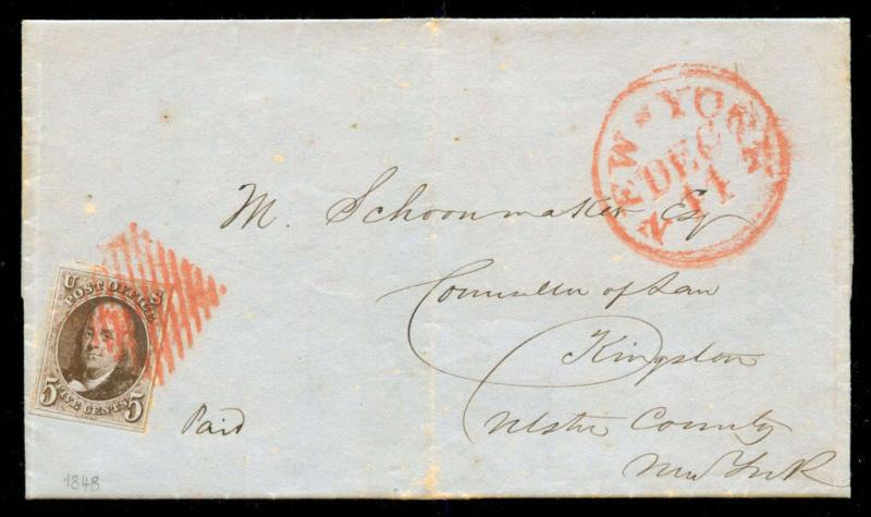 momen: US Stamps #1a Used on Cover Square Red Grid Cancel VF