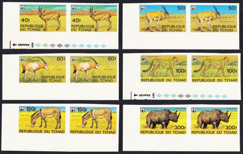Chad WWF Endangered Animals 6v imperf Corner Pairs with margins SG#555/60