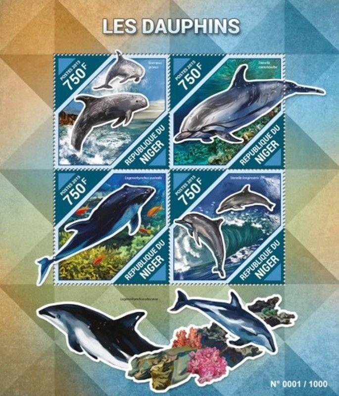 Niger - 2015 Dolphins on Stamps - 4 Stamp Sheet - NIG15504a