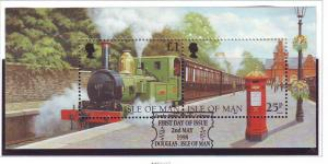 Isle of Man Sc 785 1998 Steam Railway stamp sheet used