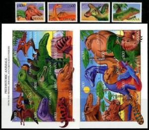 HERRICKSTAMP GHANA Sc.# 2087-91 Dinosaurs Set & Sheetlets