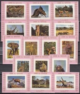 Umm Al Qiwain, Mi cat. 1002-1017 C. Wild Animals on 16 Pink small IMPERF s/shts.