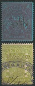 70304 - AUSTRALIA: Victoria - STAMP: Stanley Gibbons #   237 + 239 - Revenue