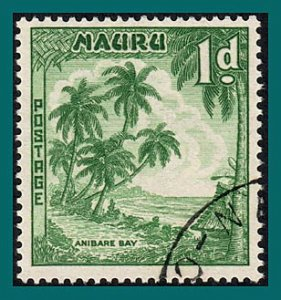 Nauru 1961 Anibare Bay, 1d white paper, used #40,SG49a