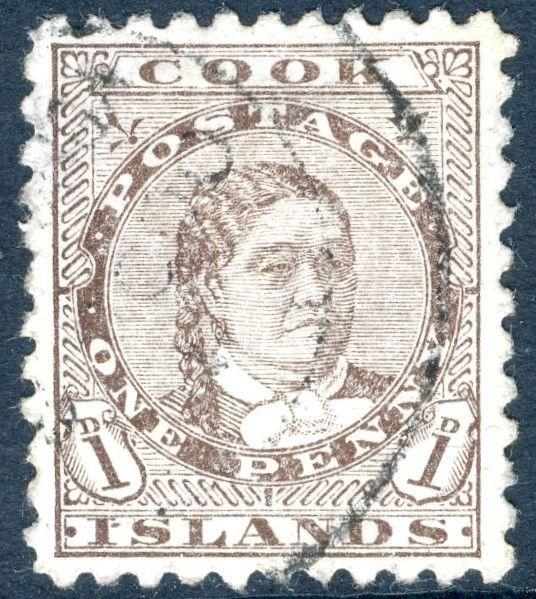 COOK ISLANDS-1899 1d Deep Brown Sg 13 FINE USED V17991