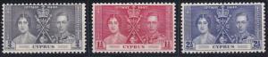 Cyprus 140-142 MNH (1937)