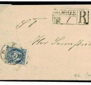 F439 NORWAY Classic Registered *Vinje* CDS Superb 1886 Cover