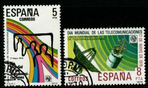 SPAIN SG2570/1 1979 WORLD TELECOMMUNICATIONS DAY FINE USED