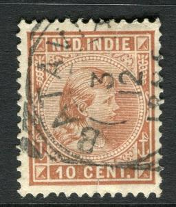 NETHERLAND INDIES; 1892 classic Wilhelmina issue used 10c. value