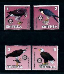 [102189] Eritrea local issue 2001 Birds vögel oiseaux of prey Rotary MNH