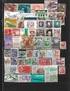 COLLECTION LOT OF 56 MEXICO STAMPS 1940+