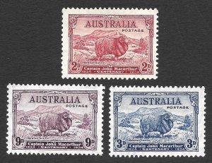 Doyle's_Stamps: MH 1934 XF Australian John MacAurthur Set, Scott  #147* - #149*
