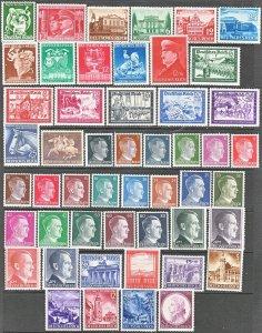 Stamp Germany Year 1941 Mi 762-810 Set WWII 3rd Reich Hitler Mozart MNG