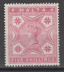 MALTA 1886 QV 5/-
