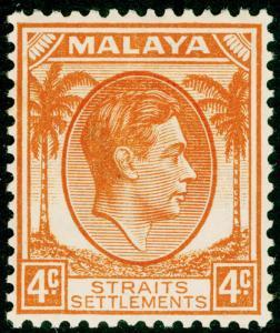 MALAYSIA - Straits Settlements SG280, 4c orange, M MINT. Cat £22. DIE I.