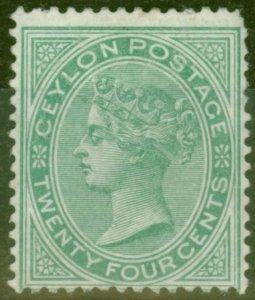 Ceylon 1872 24c Green SG127 Ave Mtd Mint