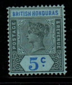 British Honduras Sc 52 1900 5 c gray black & ultra  Victoria stamp mint